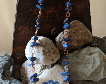 Natural Lapis Lazuli and Copper Necklace