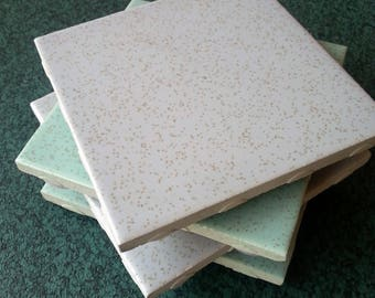 Vintage 50s ceramic tile coaster set of four in grey and green