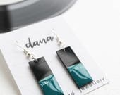 deep emerald green dangle earrings art earrings small earrings rectangle upcycled earrings vinyl earrings music earrings record collector