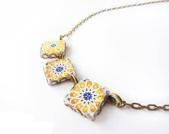Geometrical Mediterranean / Arabic  tile necklace .Yellow, blue, white