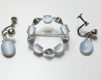 Signed WRE Genuine Moonstone Sterling Silver Leaf Vintage Wreath Brooch And Earrings 1960's Fine Jewelry Set Gift For Her on Etsy