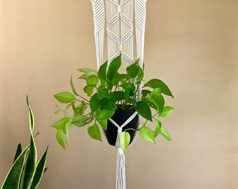 Macrame Plant Hanger - Knotted Natural White Cotton Rope - Modern Indoor Hanging Planter w/ Beads - Boho Home Decor - Ready To Ship