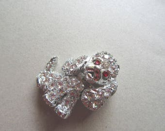 Rhinestone Cocker Spaniel Sad Puppy Dog Brooch Pell Signed Pin Vintage Costume Jewelry New Pet Vet Gift Dogs Walker MoonlightMartini