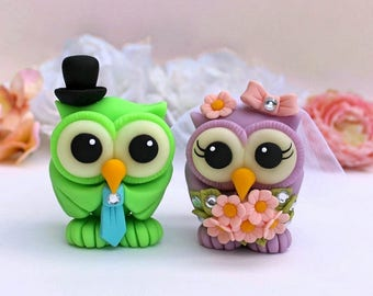 Owl wedding cake topper, custom bride and groom love bird cake topper, wedding figurines with banner, LIME green cake topper, NEW COLOR!!