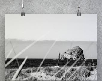 Haystack Rock Photo | Pacific Northwest Canvas | Black and White Photography | Oregon Beach House Metal Art | Photo on Wood | FREE SHIPPING