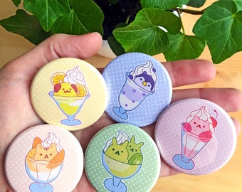 Animal Ice Cream Sundae Buttons // 1.75 inch, cute pin, badge, round, ita, bunny, cat, dog, bear, penguin, berry, parfait, dessert, fruit