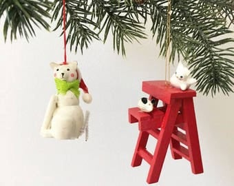 White Cat Christmas Ornaments / 2 Wooden Toy Ornaments / Kitschy Christmas / Cat Lover Gift