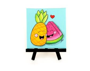 Pineapple Watermelon Canvas Art, Fruit Baby Shower, Cute Kawaii Nursery Art, Pineapple Decor, Watermelon Desk Art, Handpainted Fruit Love