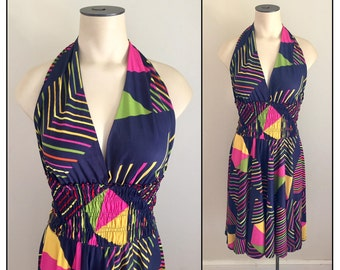 Vintage 1970s 80s Misses' Vugi Knit Halter Dress S M