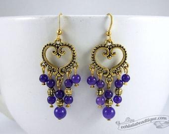 Violet chandelier earrings purple earrings birthstone jewelry boho earrings gypsy long earrings hippie agate earrings gold gift for wife