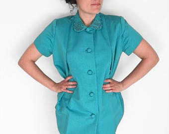 1950s MATERNITY Coat Stork Dater Turquoise Rhinestone Peter Pan Collar One Size