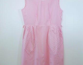 50's Pink Ticking Stripe Dress Diamond Pockets Sleeveless Cotton Sundress Plus Size XL