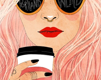 Keep Portland Weird Pink Hair - Vertical Print, woman, coffee, hipster, cool, Oregon
