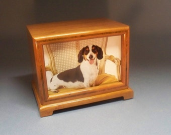 Free Shipping in the U.S., Pet Urn, 90 c.i.- Cherry and Walnut Inlay Pet Photo Urn  with Lacquer Finish