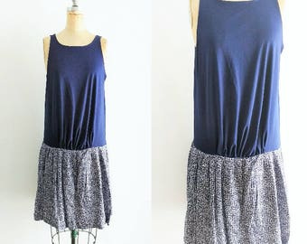 Vintage 1970s Dropwaist Navy Dress Dropwaist Dress 20s Style Dress Blue Dropwaist Dress Blue 20s Dress Flapper Dress Tennis Dress Medium L