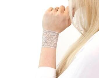 Silver Lace Wrist Cuff Bracelet, Glitter Jewelry, Lace Bracelet, Wrist Cover, Tattoo Cover Lace Tattoo Cover Ups Sparkle Unicorn Bracelet