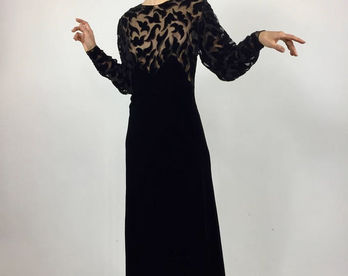 1930's Black Silk Velvet Evening Gown - Appliqué Bloused Bodice - Mutton Sleeves - Bias Cut Silk Velvet - Hand Crafted Antique Dress - M/L
