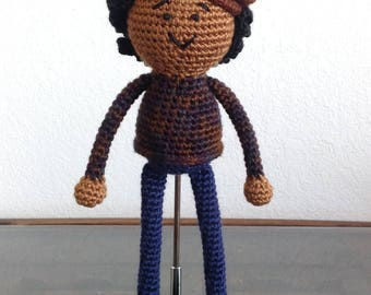 Crochet African American Boy Doll, with short curls, natural black hair, newsboy cap, Baby Gift Christmas MADE TO ORDER
