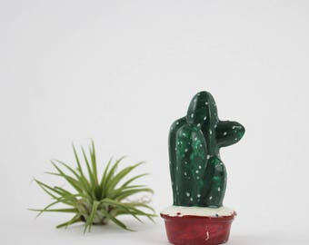 Vintage Ceramic Cactus Salt Shaker - Succulent Cactus Garden Figurine - Made in Occupied Japan