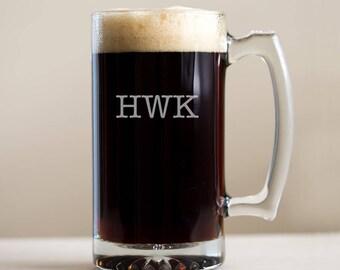 Monogrammed Beer Mug: Groomsmen Beer Mugs, Monogrammed Beer Mugs, Etched Beer Mugs, Custom Beer Mugs, Personalized Beer Stein, SHIPS FAST