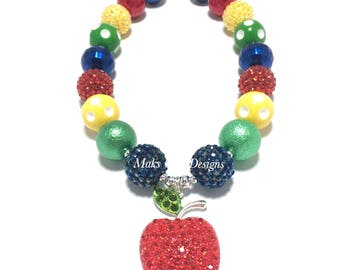 Toddler or Girls Apple Rhinestone Chunky Necklace - Fruit Necklace - Red, Yellow, Navy and Green Chunky Necklace - Red Apple Necklace