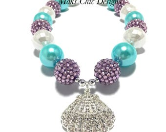 Toddler or Girls Rhinestone Shell Chunky Necklace - Purple, Turquoise and White Necklace - Mermaid Chunky Necklace - Seashell Necklace