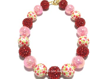 Toddler or Girls Red Rose Chunky Necklace - Pink, Red and White Chunky Necklace - Flower Chunky Necklace - Pink Valentine's Day Necklace