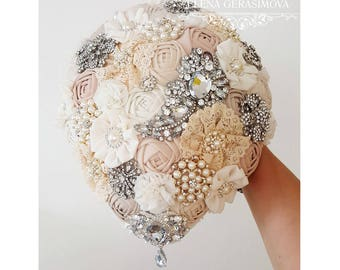 Brooch Bouquet. Ivory teardrop Fabric Bouquet, Vintage Bouquet, Rustic Bouquet, Unique Wedding Bridal Bouquet