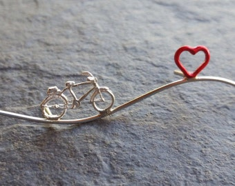 bici, bicicleta, bicycle, love, lovebicycle, heart, pin,  brooch, broche, silver,  plata, jewelry