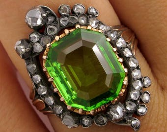 1800s Favorite ...French 5.0cttw Authentic Antique Victorian Peridot and Diamond Cluster Cocktail Ring