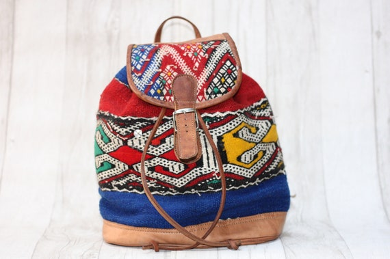 VINTAGE KILIM RUCKSACK - Embroidered ethnic bag - Hippie rucksack - Boho Backpack - Aztec rucksack - Moroccan Bag - Leather rucksack