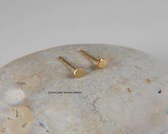 Tiny Gold Earrings Solid Gold Earrings Minimal Gold Earrings Simple Studs Gold Handmade 14K Gold Earrings