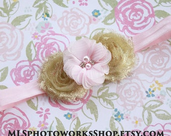 Shimmery Light Pink & Gold Flower Headband - Baby Girl Metallic Gold and Powder Pink Flower Hair Bow
