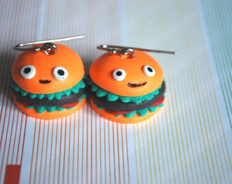 Hamburger Studs -- Hamburger Earrings, Food Earrings, Witty Earrings