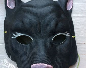 1950s Black Cat Gauze Hand Painted Mask