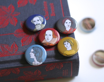 Book Pin Badge William Shakespeare Jane Austen Emily Bronte Charlotte Bronte Charles Dickens Book Badge Book Button Book Worm Author