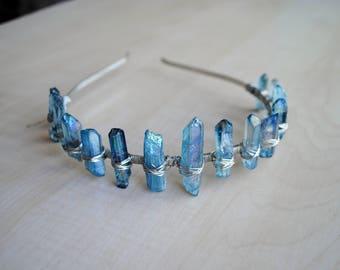 Aqua Aura Crystal Crown - Aura Quartz - Crystal Tiara - Quartz Crown - Bohemian Princess - Handmade - Wire Wrapped - Boho Chic