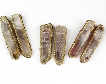 Crystal Point Earrings, Rose Quartz Earrings, Pink Gemstone Earrings, Gemstone Stud Earrings, Pink Crystal Earrings, Clear Crystal Earrings