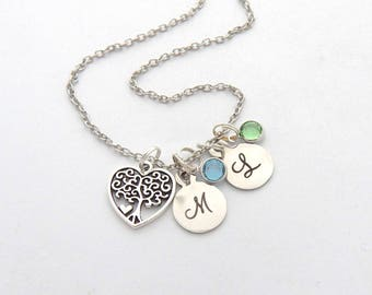 Personalized Tree of Life Necklace,FAMILY Tree NECKLACE, Family tree Jewelry, Gifts for Mom, Grandmother Gift, Gift, Necklace from grandkids