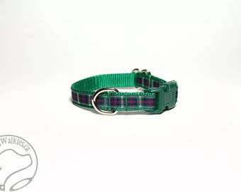 "NEW width - Mackenzie Clan Tartan Small Dog Collar - Thin Dog Collar - 1/2"" (12mm) Wide - Green Plaid - Choice of style and size"
