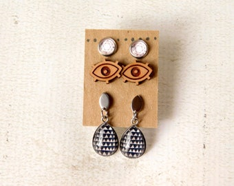 Protective Eye Earring Set - Wood Studs, Glass Black and White