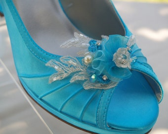 Size 9 Turquoise Wedding Shoes Ready to ship, Medium Comfortable Satin Heels, embellished organza flowers & beads,Slingback,Open Peep Toe