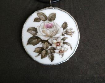 White Roses Floral Pendant