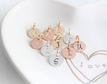 Inital Charm Initial Initial letter charm Personalized Jewelry Sterling Silver initial charm Rose Gold initial charm Add On Charms JS
