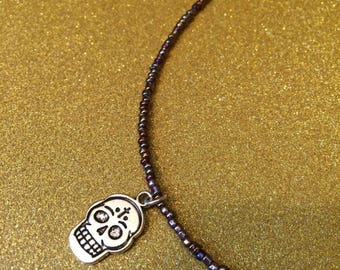 Sugar Skull Charm Pendant Brown Seed Bead Glass Rocaille Handmade Necklace