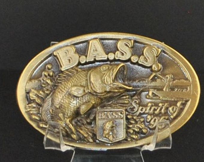 Vintage Buckle, BASS Buckle, Solid Brass, Bass Fishing, Brass, Colored Buckle, Sportsman Society, 1996, Spirit of 96, Advertisement