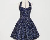 Galaxy space dress- blue Women's space print halterneck  50s style