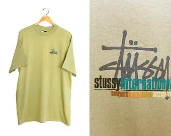 vintage t shirt / Stussy t shirt / 90s hip hop clothing / 1990s Deadstock Stussy International t shirt XL