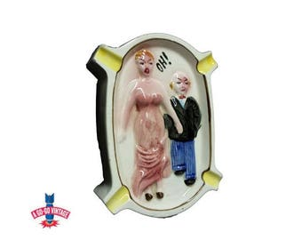Vintage Ashtray, Risque Naughty Sex Humor X-Rated Ashtray Adult Gift