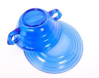 Vintage Hazel Atlas Cream Soup Bowl Saucer Cobalt Blue Glass Bouillon Bowl Modern tone Depression Nut Bowl Double Handle